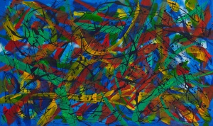 "No. 2299.  ""Empowerment in Teal Blue"". Original Mixed Acrylic on 36""h x 60""w Premium Quality Stretched Canvas: $4,500."
