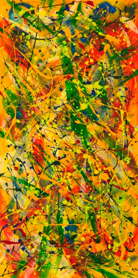"""No. 2292. On the Path to Wellness Series - Sharing Love: """"Pineapple DNA"""". $1,950. Original Mixed Acrylic on 48""""h x 24""""w Premium Quality Stretched Canvas."""