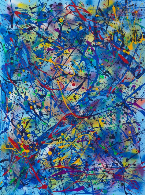 """No. 2303. """"Fountain Of Youth"""" Original Mixed Acrylic on 40""""h x 30""""w x 1.5"""" Blick Premium Quality Stretched Canvas."""