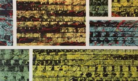 """No. 2319. Film Strip Series: """"Sunday Color Comic Strips 1950's"""". $3,500. Original Mixed Acrylic on stretched canvas 36"""" x 60"""" x 1.5""""."""