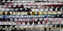"No. 2307. Film Strip Series: ""Musical Art Pieces - Film Score"". $2,450. Original Mixed Acrylic on 24""h x 40""w x 1.5"" Premium Quality Stretched Canvas."