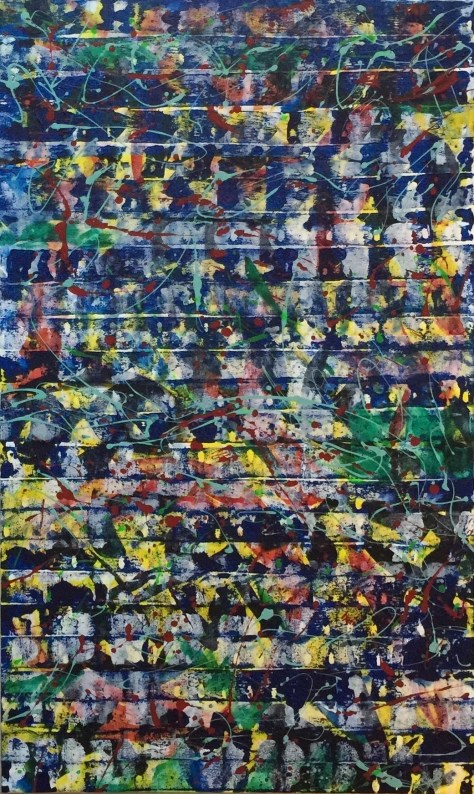 "No. 2321 ""World Art Games 2015"" $4,750. Original Mixed Acrylic on Premium Stretched canvas 36"" x 60"" x 1.5"""