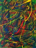 """No. 2342. """"Etude Yellow and Green"""" from the Wellness Chakra Healing Series. $225.00. Original mixed acrylic paints on 11"""" x 14"""" x .33"""" stretched canvas."""
