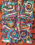 """No. 2384. """"Primitive Warriors Dancing-1"""" from Artist's Primitive Series. $6,500. Original Mixed Acrylic on 48"""" x 36"""" x 1.5"""" Premium Quality Stretched Canvas."""