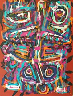 "No. 2384. ""Primitive Warriors Dancing-1"" from Artist's Primitive Series. $6,500. Original Mixed Acrylic on 48"" x 36"" x 1.5"" Premium Quality Stretched Canvas."