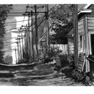 """33rd & Emerson Ave. S., 4""""x12"""" ink on paper"""