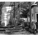 "33rd & Emerson Ave. S., 4""x12"" ink on paper"