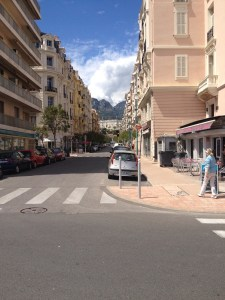 Street in Menton with view on the Alps-1