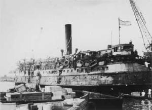 Exodus docks in Haifa Harbour