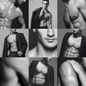 Fifty shades of grey male fashion concept. Collage (mosaic) of fashionable and muscle young man a-la Christian Grey in grey classic coat, suit and naked over grey background. Close up. Studio shot
