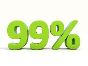 Ninety-nine percent off. Discount 99%. 3D illustration.