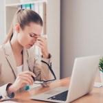 Tired sad woman having problem because of failing task