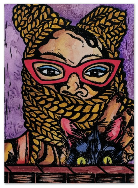 Quirky Black Girl with Opal the Cat