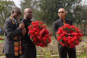 Dr. Kwesi deGraft Hanson with Savannah Mayros Memorial Wreaths  Kiplyn Primus