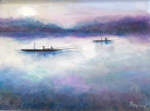 Janina Ridgway Fishermen on a Misty Lake