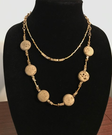 Patricia Tresness Agate and Glass Necklace