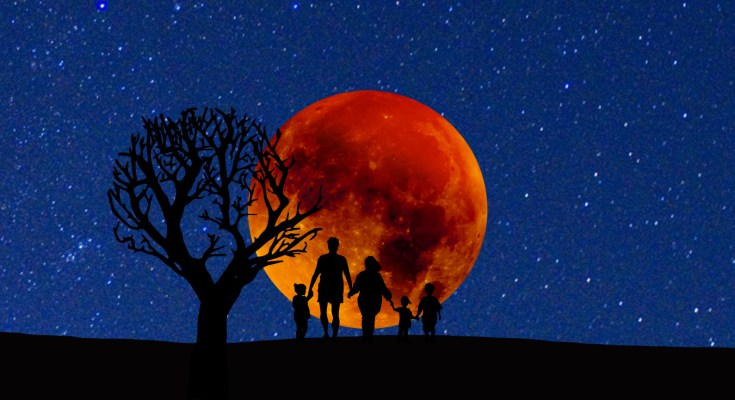 Family watching the Super Blue Blood Moon event on a clear night