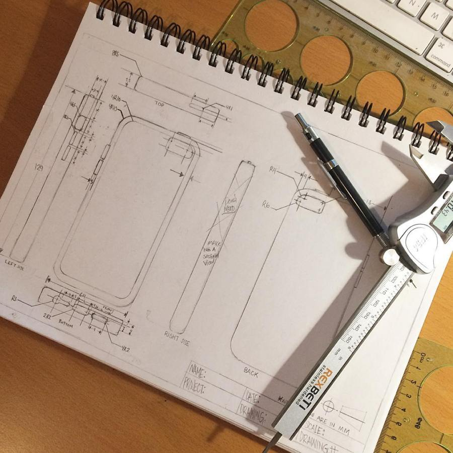Here's a #sketch of a #technicaldrawing for a cellphone case in the works. . . #artbysmalls #industrialdesign #orthographicprojection📐📏✏️