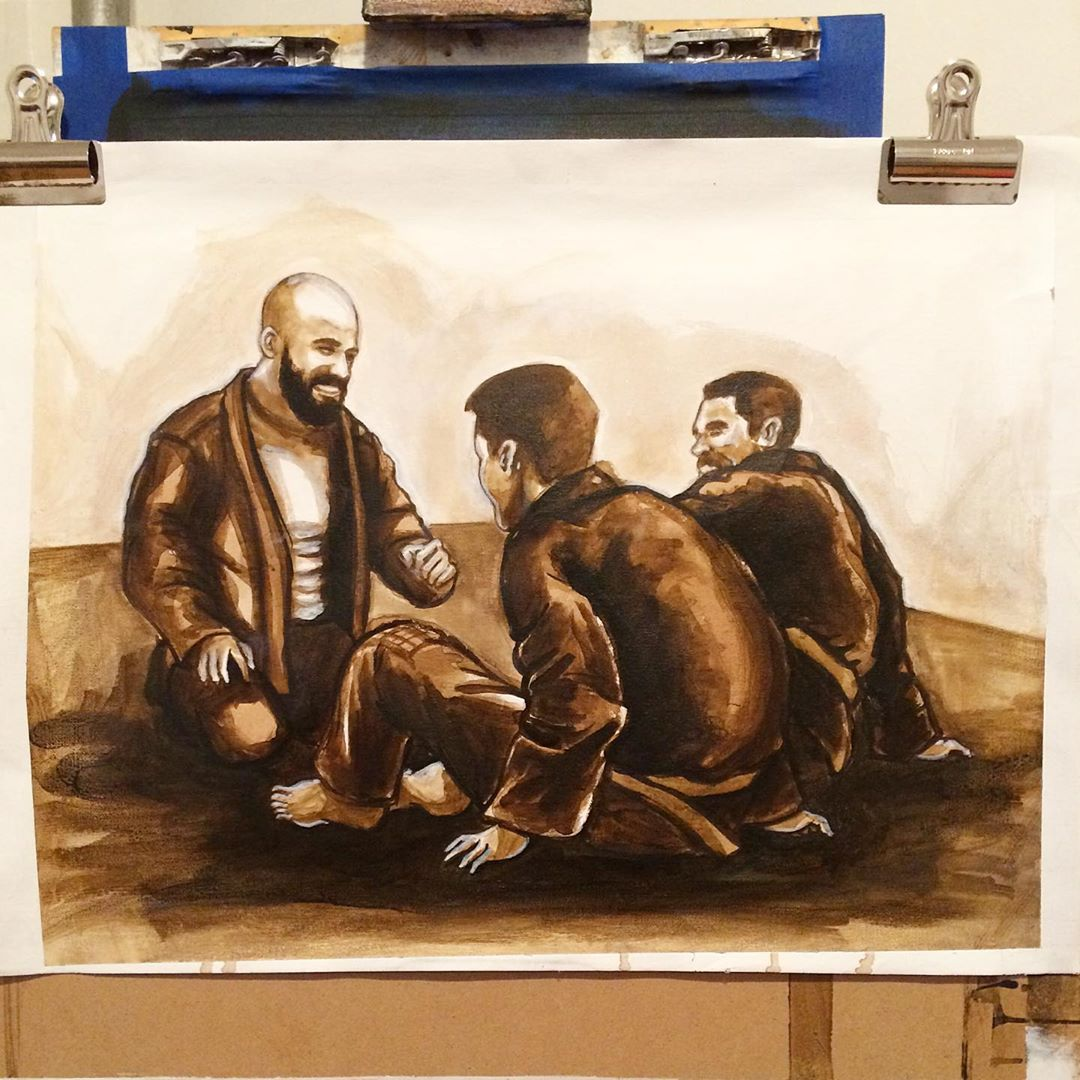 "I reworked this painting many time but this one I'm pleased with. ""Morning Crew"" #Acrylic on #canvas 2019. . . #bjj #jiujitsu"