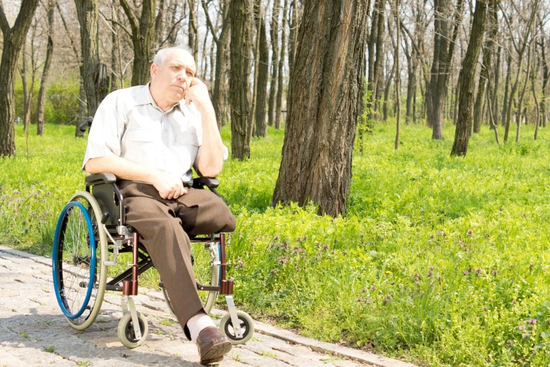 Elderly man with amputated leg