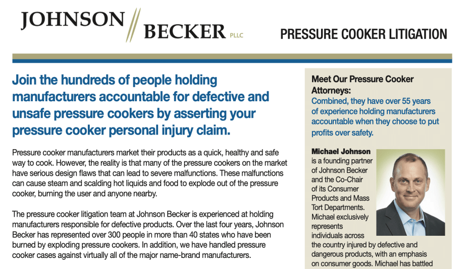 Pressure Cooker Lawsuit Litigation Guide