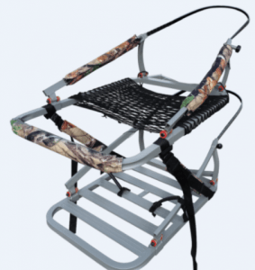 image of the x-stand climbing treestand, camouflaged cover, silver metal base.