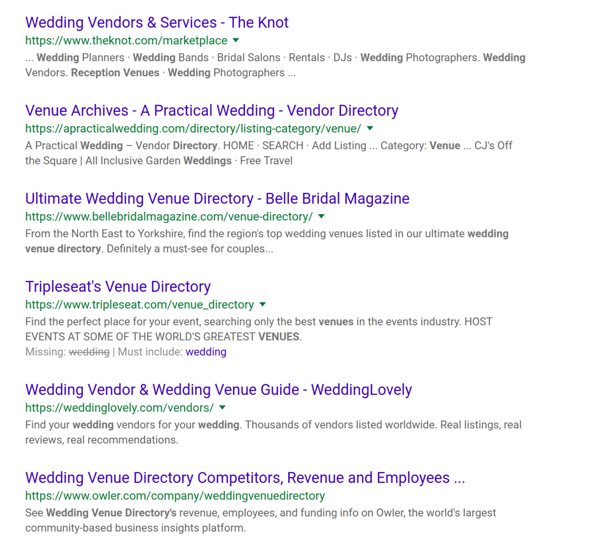 Google Search Results of Wedding Venue Directories