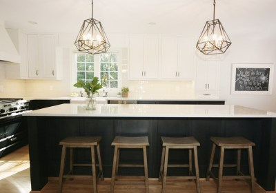 White countertop island w/dark unders and saddle seating