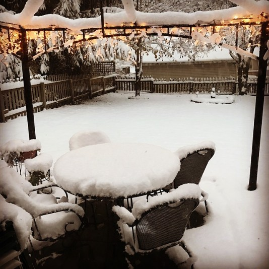Snow-covered deck seating, Anne Arundel County, Johnson Lumber