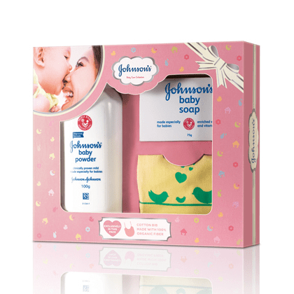 Johnsons Baby Care Collection With Organic Cotton Bib