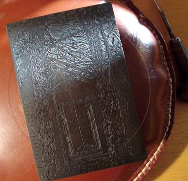 boxwood engraving block on pillow