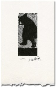Bear wood engraving
