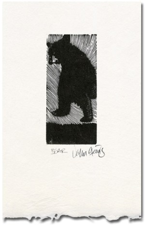Bear wood engraving