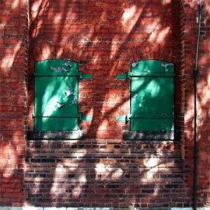 red bricks green shutters