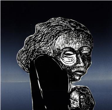 Mother & Child ~ Linocut ~ John Steins
