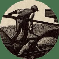 Clare Leighton ~ Threshing ~ Wood Engraving