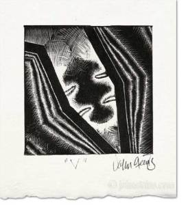 Vee wood engraving