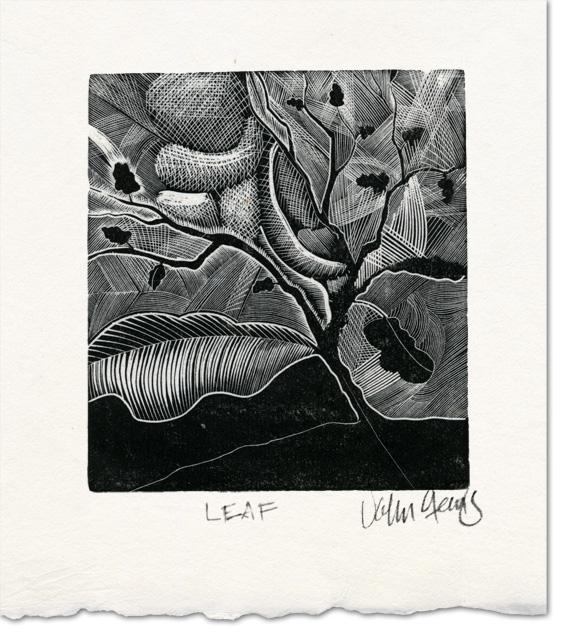 leaf wood engraving