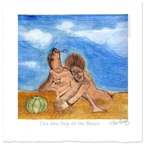 one fine day beach multi-colour intaglio print drypoint