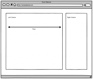 Wireframe of a two column layout in a typical desktop view