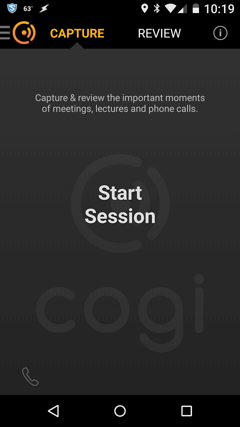Cogi Start Session Screen