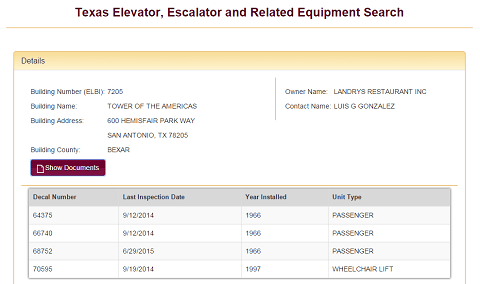 Elevator inspection page on TDLR's website