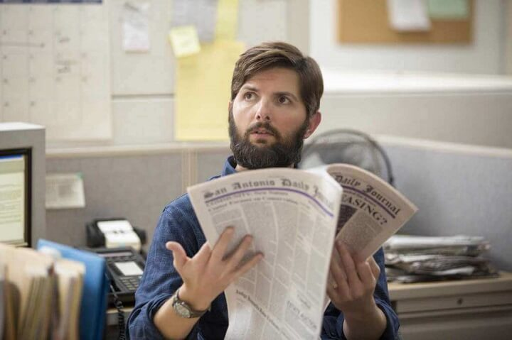 Adam Scott plays a fictional reporter based on John MacCormack in a new Netflix movie about Madalyn Murray O'Hair