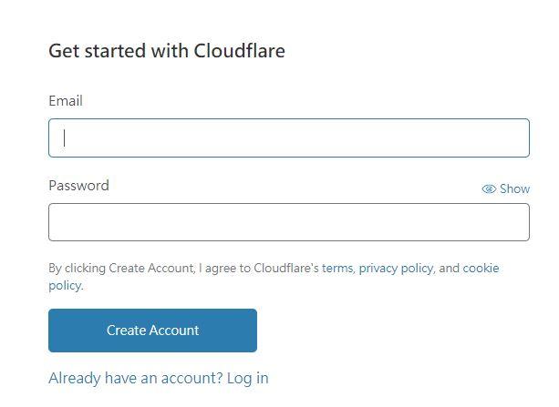 創建 Cloudflare 帳號