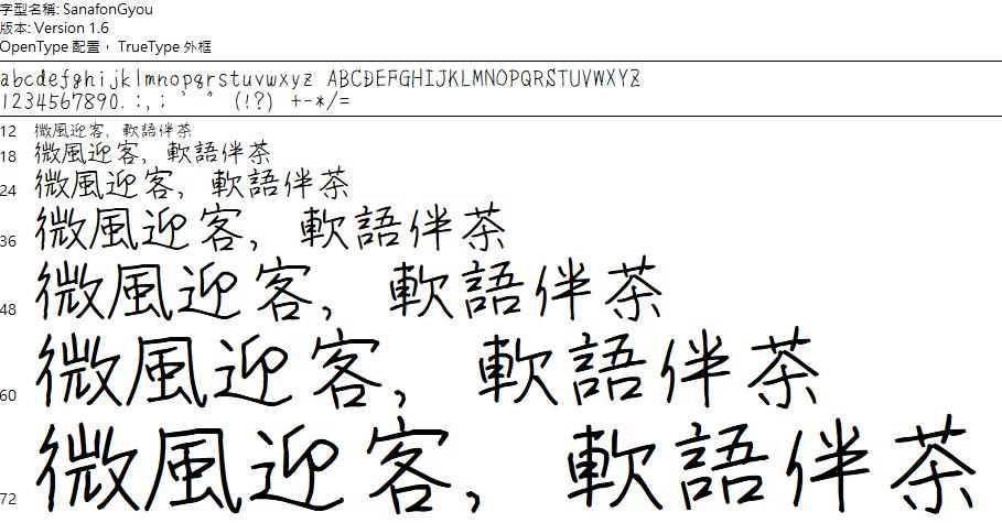 SanafonGyou 賀卡手寫字體