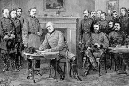 General Robert E. Lee surrenders to General Ulysses S. Grant at Appomattox Court House.