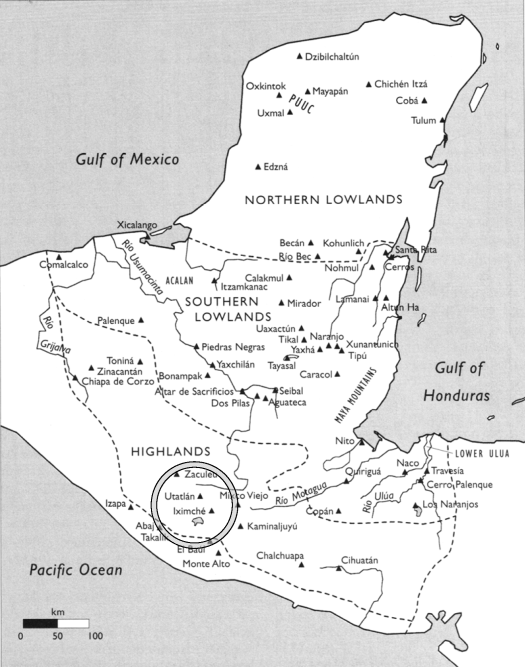 Figure 1 - Topographic zones of the Maya realm (from Henderson p. 35)