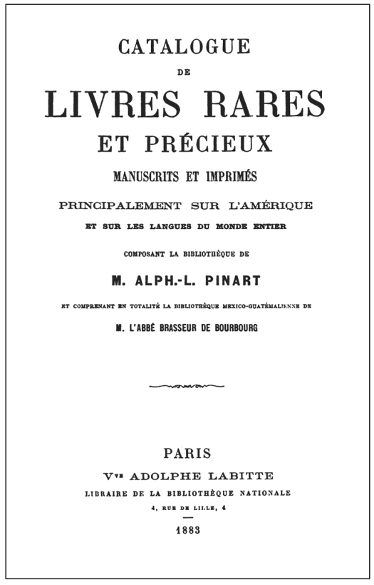 Figure 4 - Title page of auction catalog containing Brasseur's collection