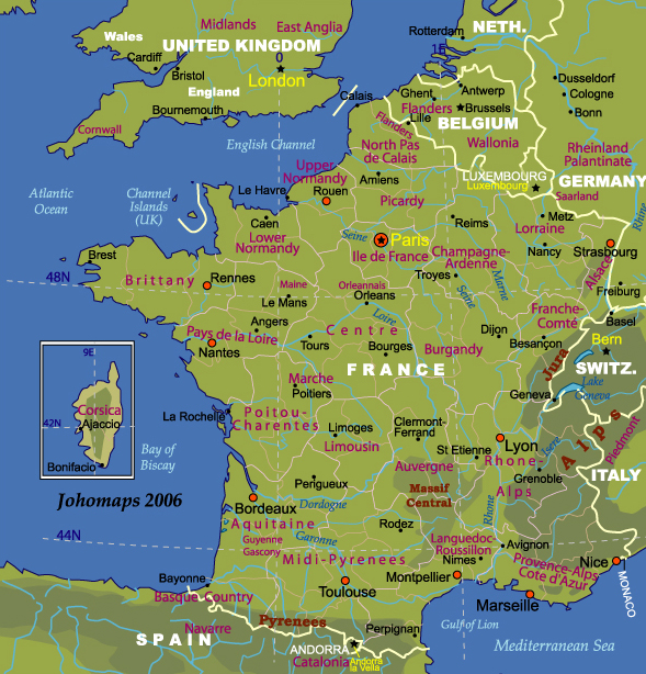 Map of France   JohoMaps Map of France