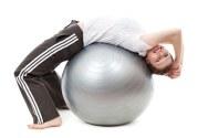 woman with yoga ball
